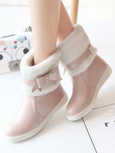 Sweet Lolita Snow Boots Bow Plush Lining PU Lolita Boot