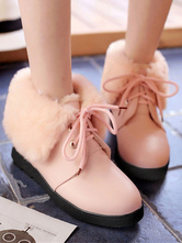 Classic Lolita Bootie Lace Up Plush Lining PU Pink Lolita Ankle Boots