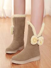 Klassische Lolita Boots Bow Plüschfutter Nubukleder Lolita Snow Boot
