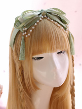 Sweet Lolita Headdress Pearl Tassel Bow Satin Light Green Lolita Hair Band