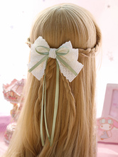 Sweet Lolita Hair Clip Lace Bow Two Tone Green Lolita Hair Accessory