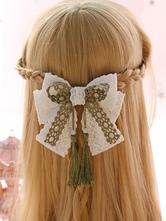 Sweet Lolita Hairclip Lace Tassel Bow Green Lolita Hair Accessory
