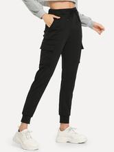 Schwarze Cargo-Hose mit hoher Taille und elastischer Taille mit Taschen