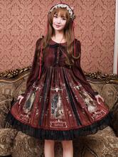 古典的なロリータOPドレス古代の城エルフ印刷レースラッフルブルゴーニュロリータワンピースドレス