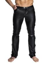 Männer Club Wear Schwarzer Front-Reißverschluss Metallic Kunstleder Sexy Hose
