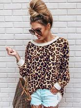Женская толстовка с леопардовым принтом и длинными рукавами