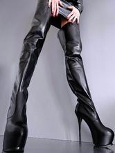 Женщины Sexy Shoes Черная платформа Stiletto Heel Zip Up Thigh High Boots Over The Knee Boots