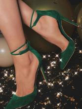 Women High Heels Suede Dark Green Pointed Toe Ankle Strap Pumps