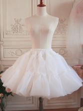 ロリータペチコートスカートレイヤードフリルVoile White Lolita Underskirt