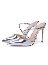Silber High Heels 2021 Damen Spitze Riemchen Mule Schuhe Party Schuhe