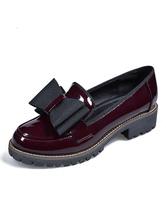 Carnaval Mocasines burdeos para mujer Punta redonda Zapatos con cordones Zapatos casuales