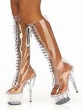 Женщины сексуальные ботинки прозрачные платформы круглый носок на высоком каблуке ясно сапоги