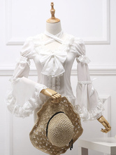 Classic Lolita Blouse Royal Fairytale Lace Bow Ruffle Chiffon White Lolita Shirt