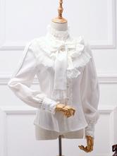 Classic Lolita Blouse White Bow Ruffle Lace Chiffon Lolita Shirt