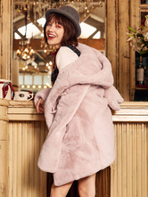 Sweet Lolita Faux Fur Coat Bunny Ear Toggle Hooded Pink Lolita Duffle Coat