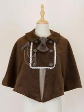 Classic Lolita Poncho Button Decor Lace Brown Lolita Cape