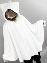 Gothic Lolita Cape Cat Planet Pleated Hooded Pellet Fleece Velvet Lolita Poncho Coat