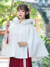 Chinese Style Lolita Cape Floral Embroidered Furry Hood White Lolita Poncho