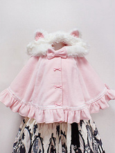 Sweet Lolita Poncho Wool Bow Ruffle Cat Ear Pink Lolita Cape