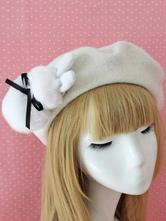 Sweet Lolita Beret Bow Faux Fur Bunny Wool Lolita Hat