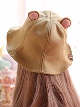 Sweet Lolita Bucket Hat Bear Ear Felt Camel Lolita Cap