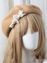 Bonnet Lolita Doux Béret Lolita en Laine Pom Pom Déguisements Halloween