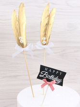 Gold Feather Cake Toppers Birthday Party Decorations Halloween