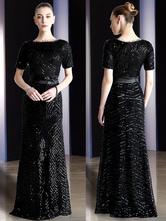 Vestido De Ocasião Formal 2021 Preto Da Luva De Maxi Da Bainha Dos Vestidos De Noite Da Luva Curta Com Faixa Destacável