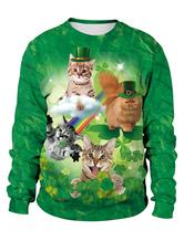 St Patricks Day Green Sweatshirt 3D Printed Cat Dog Clover Pullovers Unisex Irish Long Sleeve Top Halloween