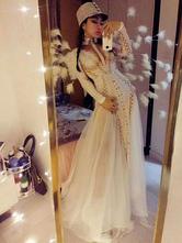 Jazz Dance Costume Sexy Studded Long Sleeve Dresses Women Nightclub Wear Halloween