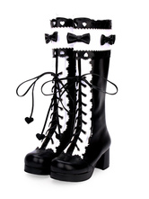 Classic Lolita Boots Lace Up Bow Two Tone Chunky Heel Black Lolita Knee High Boots