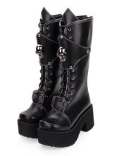 Gothic Lolita Boots Skull Lace Up Platform Chunky Heel Black Lolita Shoes