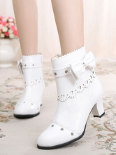 Classic Lolita Boots Bow Cut Out Chunky Heel Lolita Shoes