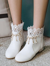 Classic Lolita Ankle Boots Pearl Lace White Puppy Heel Lolita Bootie
