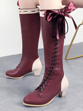 Classic Lolita Boots Bow Lace Up Two Tone PU Puppy Heel Lolita Shoes