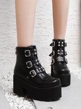 Gothic Lolita Stiefel Metallic Buckle Platform Schwarze Lolita Schuhe