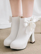 Classic Lolita Ankle Boots Pearl Bow Chunky Heel White Lolita Bootie