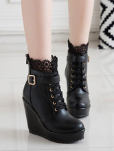 Classic Lolita Boots Lace Buckle Wedge Heel Black Lolita Shoes