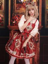 古典的なロリータJSKドレスプリントボウレッドロリータジャンパースカート