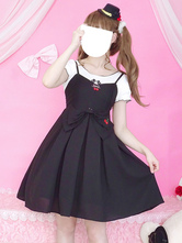 Classic Lolita Outfit Cherry Embroidered Bow Ruffle Two Tone Lolita JSK With Top
