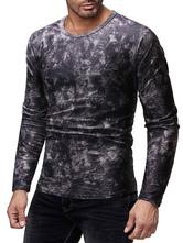 Black Men T Shirt Jacquard Print Long Sleeve Casual Undershirt