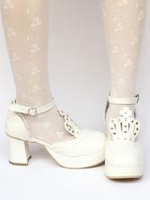 Zapatos de lolita de PU de puntera redonda Color liso blancos TGTGzbWPZ