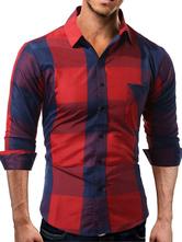 Camicia casual cotone misto colletto maniche lunghe scozzese vestibilità Classica