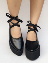 Lolitashow Gothic Lolita Shoes Pointed Toe Cross Strap Platforms For Lolita