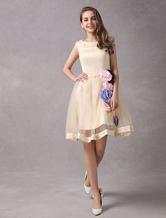 Свадебное платье A-силуэт короткое из органзы