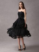 Lace Sweetheart Knee Length Little Black Dress
