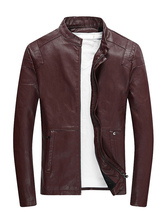 PU Leather Fashion Man's Zipper Jacket