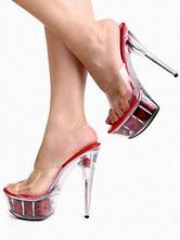 5 7/10'' High Heel 1 4/5'' Platform Clear PVC Sexy Mules
