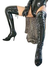Черные чулки Sexy ПВХ Хэллоуин