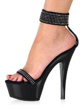 High Heel Black PU Ankle Straps Platform Sandals